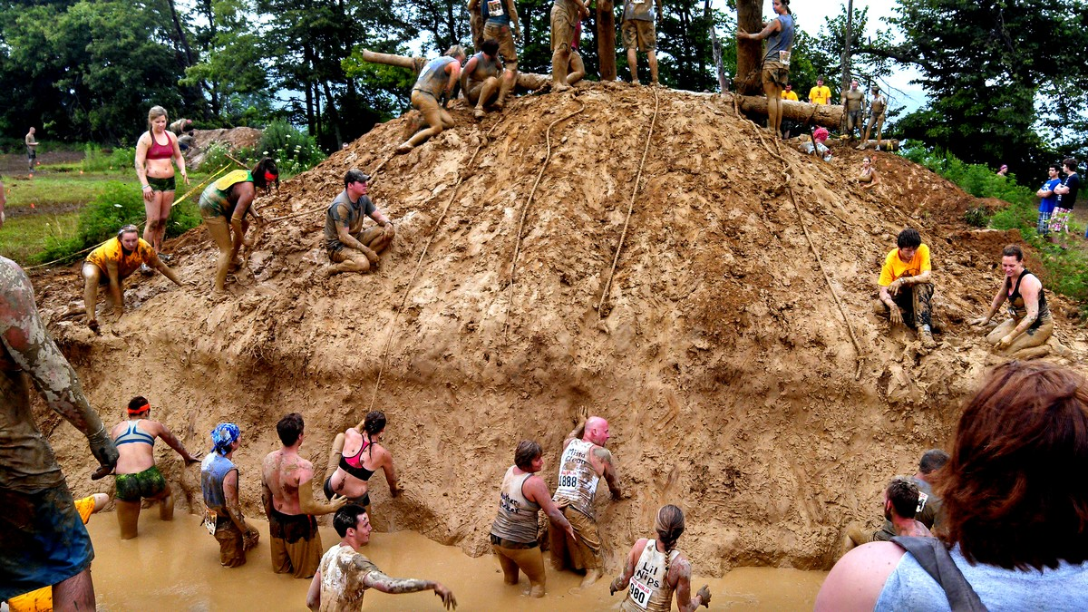 Slide into a muddy trench, then scamper up the hill, using those ropes. Easy enough, right? And then your reward is...