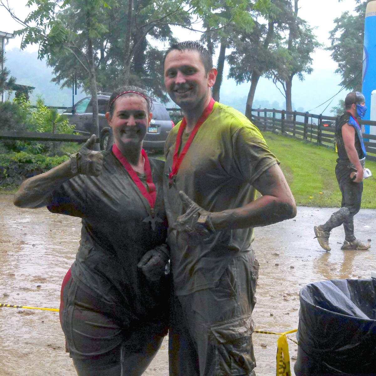 Feeling proud of ourselves. Wait, is that THE Mud Ninja in the background?!