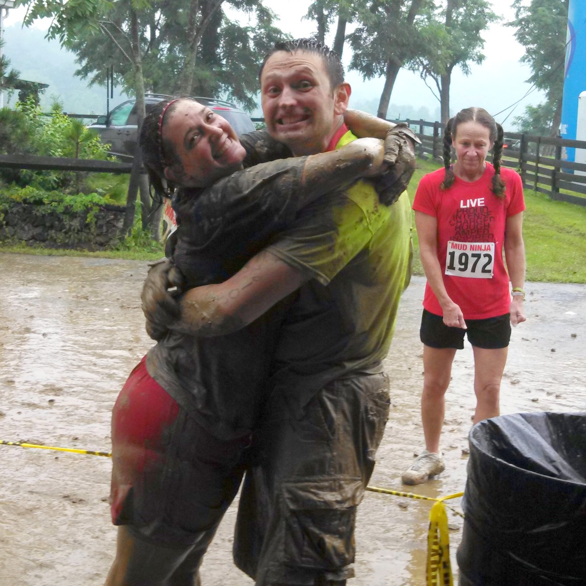 The happy, muddy couple. This would be a heck of a venue for a wedding, come to think of it!